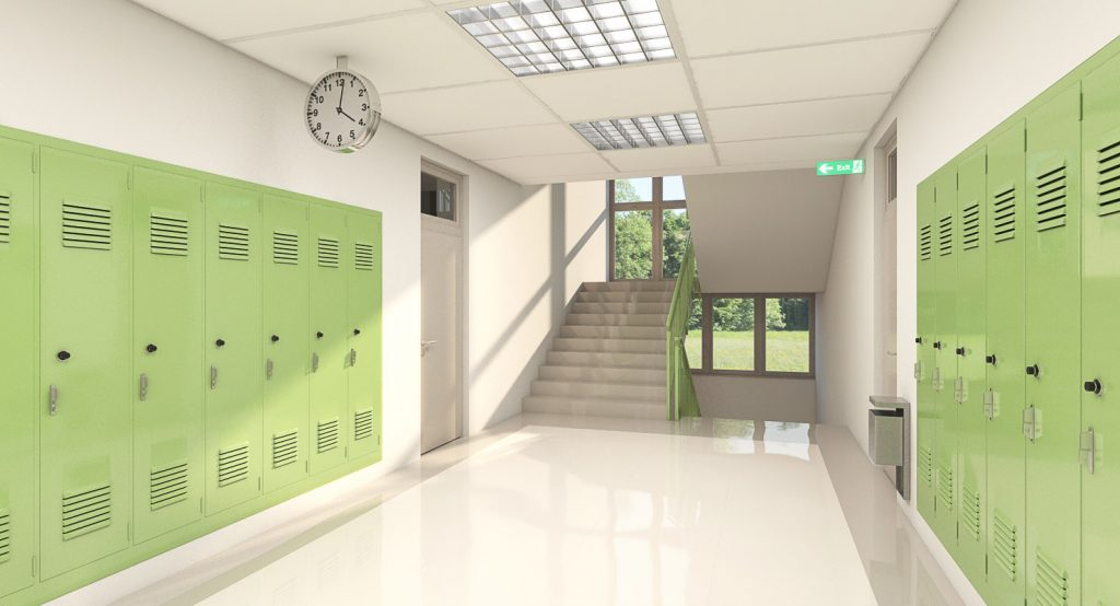 Three dimensional school hallway scene