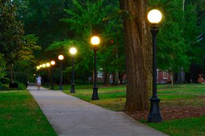 College campus lit walking path